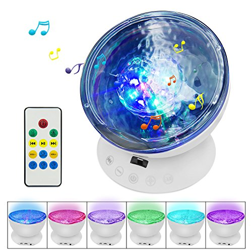 Stars 12 Light (【Newest Design】Testudo Remote Control Ocean Wave Projector 12 LED &7 Colors Night Light with Built-in Mini Music Player,Star Projector for Baby Kids Adults Living Room and Bedroom (White))