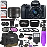 Canon EOS M50 Mirrorless Digital Camera (Black) Premium Accessory Bundle EF-M 15-45mm is STM Lens (Graphite) + Canon Water Resistant Case + 64GB Memory + HD Filters + Auxiliary Lenses