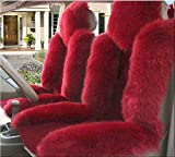 IMQOQ A Pair Genuine Sheepskin Fur Car 2 Front Seat Covers Set Winter Warm Universal Wine Red