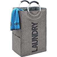 HOMEST Single Laundry Hamper with Handle, Self-Standing Modern Laundry Basket for Dorm Room, Grey