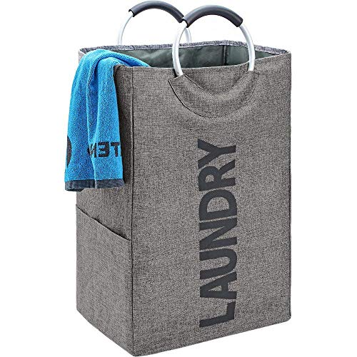 - HOMEST Single Laundry Hamper with Handle, Self-Standing Modern Laundry Basket for Dorm Room, Grey
