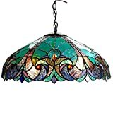 Tiffany Style Chandelier Lighting 2 Light Pendant Hanging Lamp Colorful Glass Victorian Ceiling Light Fixture H 8.5 x D 18 inches Shade Dark Antique Bronze Finish + Bonus Free eBook Lighting Trends