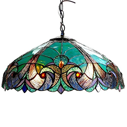 Tiffany Style Chandelier Lighting 2 Light Pendant Hanging Lamp Colorful Glass Victorian Ceiling Light Fixture H 8.5 x D 18 inches Shade Dark Antique Bronze Finish + Bonus Free eBook Lighting Trends (Bronze Hanging Victorian)