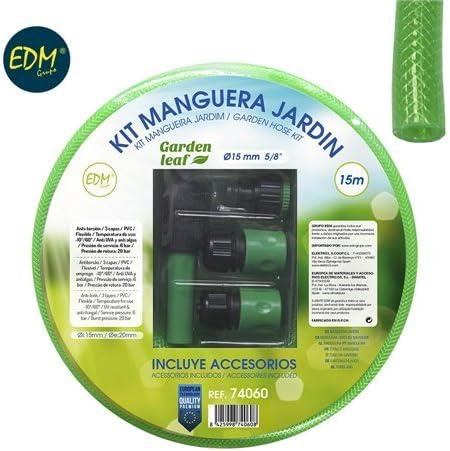 EDM Kit manguera jardin ø interior 15mm ø exterior 20mm (5/8) rollo 15m con accesorios: Amazon.es: Jardín