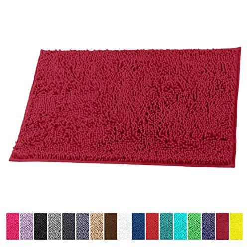LuxUrux Bath Mat-Extra-Soft Plush Bath Shower Bathroom Rug,1'' Chenille Microfiber Material, Super Absorbent Shaggy Bath Rug. Machine Wash & Dry (16 x 24, Maroon-Red) (Rugs Machine Wash)