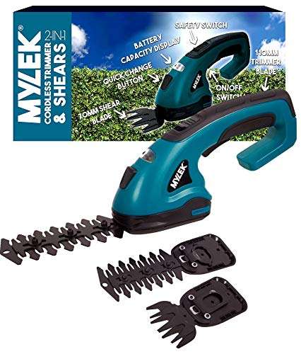MYLEK 2-in-1 Li-ion Cordless Hedge Trimmer & Grass Shears with 2 Blades, Quick Change Button, Safety Switch & Battery Capacity Display
