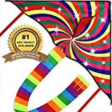 Best Kite Kit For Kids - Large Colorful Rainbow Delta Kite, Long Line Review