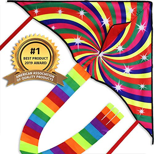 Colorful Kite for Kids and Adults, Great Beginner Kite Toy, Large and Easy To Fly, Rainbow Colors, Long Kite String and Extra Thick Quality, Perfect for the Beach