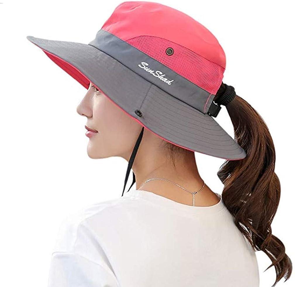 UPF 50+ Wide Brim Sun Hat Waterproof UV Protection Bucket Boonie Hat for Women