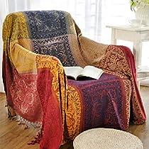 Bohemian Chenille Jacquard Tassels Cozy Throw Blanket Sofa Chair Cover,Large,220cm x 260cm