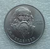 1984 RU 1 ruble.150th anniversary of the birth of the Russian chemist Mendeleev USSR Soviet Union Russian Coin 31mm About Uncirculated Detials
