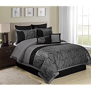 8 Piece Weistera Jacquard Tree Branches Pattern Comforter Sets King Dark Grey
