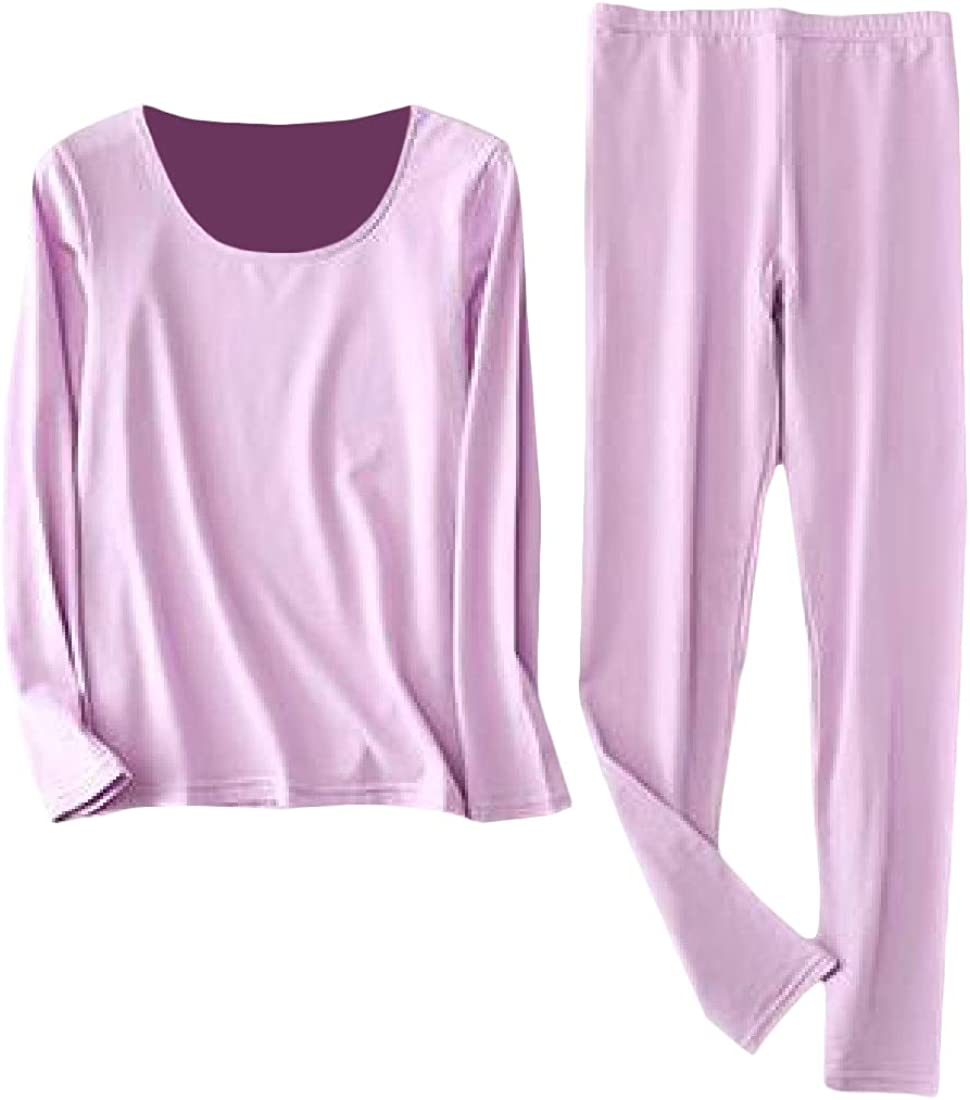 Lutratocro Women Plus Size Casual Crewneck Base Layering Thermal Underwear Sets