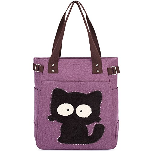 KAUKKO Fashion Lady Shopping Handbag Shoulder Canvas Bag Tote Purse Book Bag Purple
