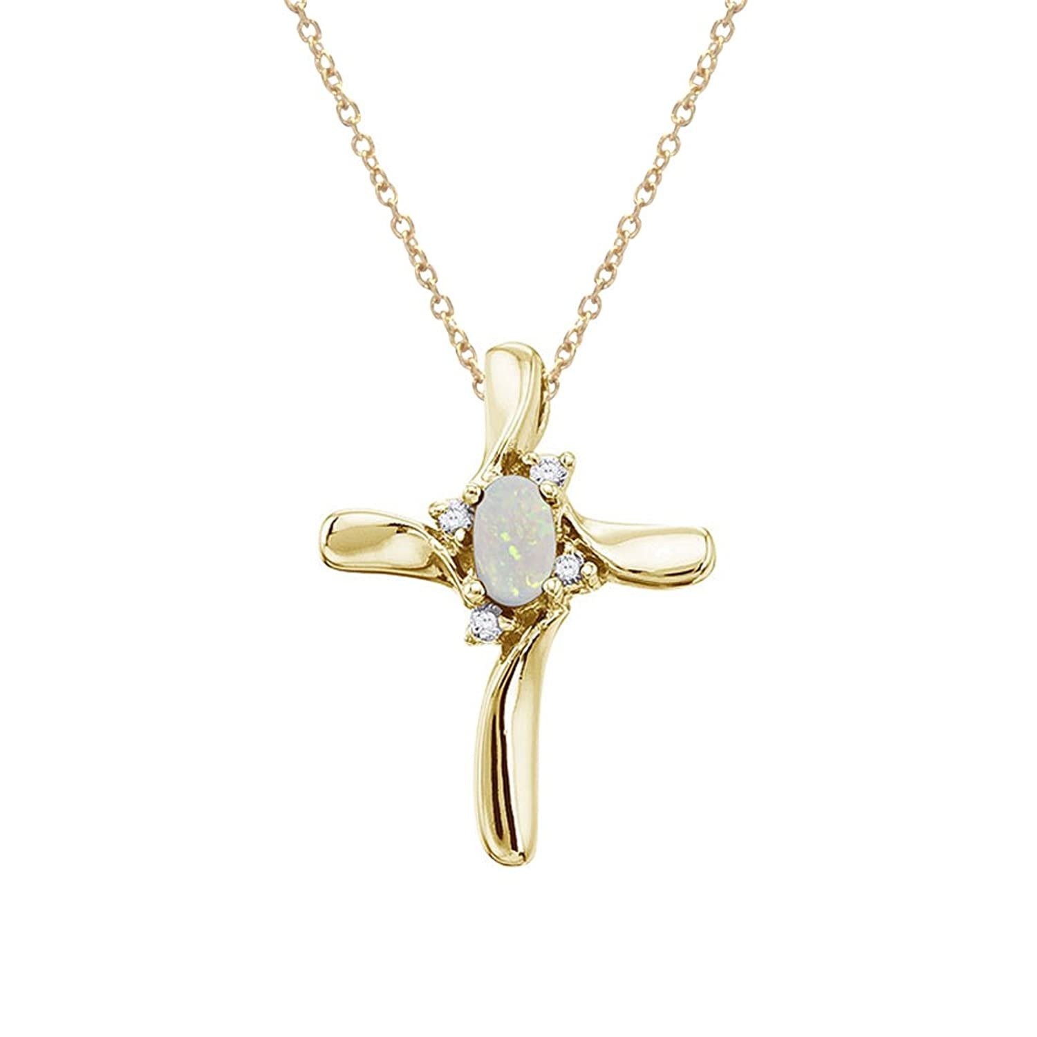 "14K Yellow Gold Opal and Diamond Cross Pendant with 18"" Chain"
