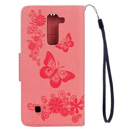 SRY-Phone protection case Para LG Stylo 2 / LS775 mariposa grabado Horizontal Clamshell puede apoyar la caja de cuero con el titular y la ranura para tarjetas y el bolso y el cordón ( Color : Brown ) Pink
