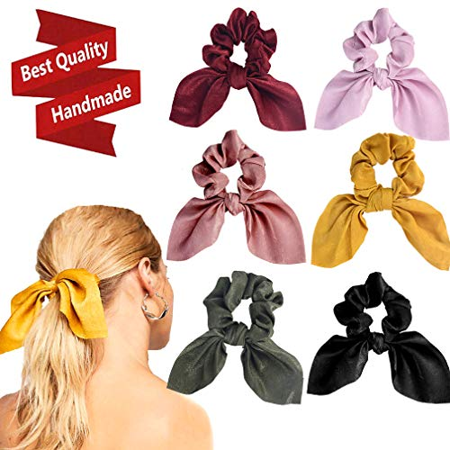 6PCS Hair Scrunchies Satin Slik Rabbit Bunny Ear Bow Bowknot Scrunchie Bobbles Elastic Hair Ties Bands Ponytail Holder for Women Accessories