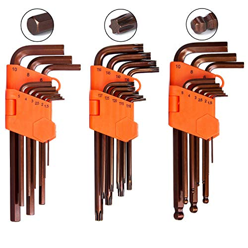 K Kwokker 27x Long Arm Ball End Hex Key Wrench Set(Metric), Star Key Set, Allen Tip Key L-Wrench Repair Tools Kit for Vehicle Plumbing Furniture Bicycle Locomotive Equipment Toy Instrument Maintenance