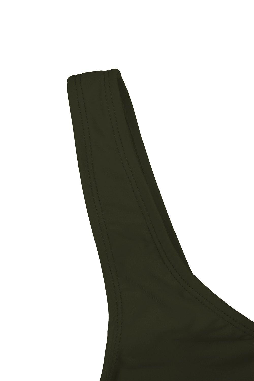 KAKALOT Women's Sexy Scoop Neck Crop Top with High Cut Bikini Bottom Sets Beachwear L Army Green by KAKALOT (Image #9)