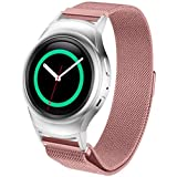 Milanese Magnetic Loop Stainless Steel Watch Band, Ninasill Exclusive Connector For Samsung Galaxy Gear S2 RM-720 Watch Strap (Pink)