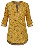 Sunerlory Yellow Tops for Women, Floral Casual Loose Fit Chiffon Blouse Notch V Neck Roll-up Sleeve Floral Tops Yellow L