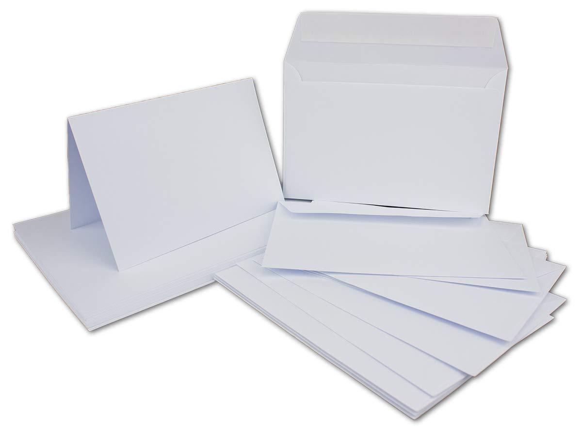 200 Doppelkarten Set DIN B6 Weiß - 11,9 x 16,1 cm offen - 210 g m² mit Brief-Umschlägen DIN B6-12 x 18 cm - 90 g m² Weiß Haftklebung B07K16HQF5 | Berühmter Laden