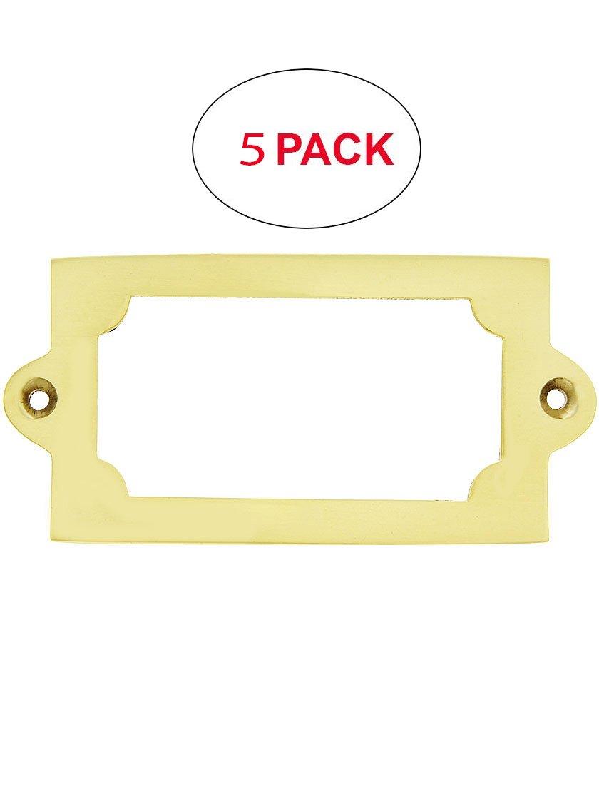 House of Antique Hardware R-08DE-325LH-PB-5 3 5/16'' Brass Label Holder in Polished Brass (5 Pack)
