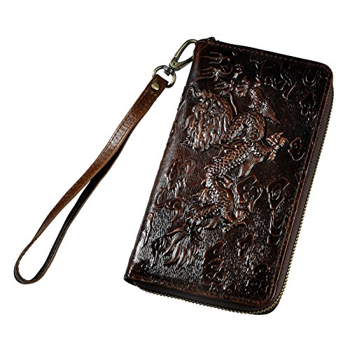 - Le'aokuu Mens enuine Leather Clutch Hand Bag Organizer Checkbook Zipper Wallet (coffee-dargon)
