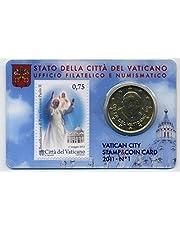 Coincard del Vaticano 2011Nº 150Cent Euro moneda Curso Moneda + 75Euro Cent sello