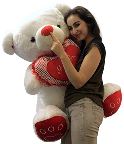 Giant Valentines Day Teddy Bear Soft White Oversized Plush H