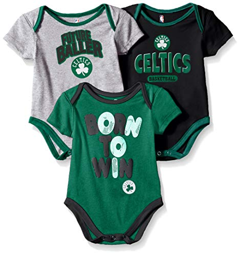 Outerstuff NBA NBA Newborn & Infant Boston Celtics Little Fan 3pc Bodysuit Set, Heather Grey, 3-6 Months (Snap Celtics Boston)