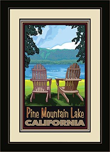 Northwest Art Mall JK-5508 FGDM ADCL Pine Mountain Lake, California Adirondack Chairs Lake Framed Wall Art by Artist Joanne Kollman, 16 x - In Macys Oregon