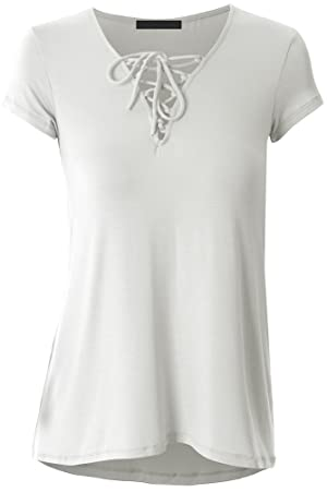 Womens Plus Size V Neck Short Sleeve Lace Up Casual Shirt Blouse Tops XL White