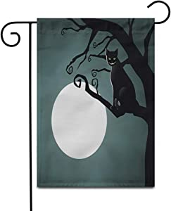 "Awowee 12""x18"" Garden Flag Chesire Cheshire Cat in The Moonlight Alice Moon Wonderland Animal Outdoor Home Decor Double Sided Yard Flags Banner for Patio Lawn"