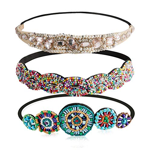 Women Headbands, Teenitor Rhinestone Beaded Elastic Headband for Women Girl Hair Accessories, Handmade vintage headbands Fits for Most, 3pcs]()