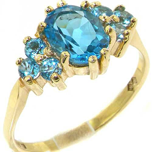 10ct Yellow Gold Natural Blue Topaz Womens Classic Ring - Size U 1/2