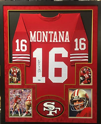 Joe Montana San Francisco 49ers Autograph Signed Custom Framed Jersey Red 4 Picture Tristar Authentic -