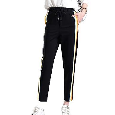 a764c4e6497b6 Juleya Women Long Sweatpants - Comfortable Elastic Waist Loose Trousers  with Drawstring Fashion Rainbow Striped Casual