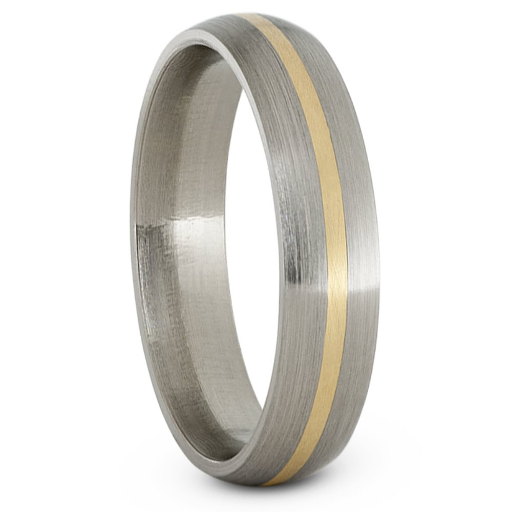 Satin Brushed Titanium, 14k Yellow Gold 5mm Comfort-Fit Dome Wedding Band, Size 12