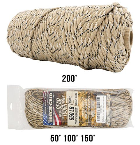 TOUGH-GRID 550lb Desert Camo Paracord/Parachute Cord - 100% Nylon Genuine Mil-Spec Type III Paracord Used by The US Military - Great for Bracelets and Lanyards - Made in The USA. 50Ft. - Desert Camo ()