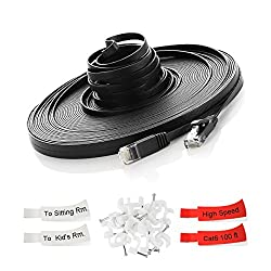 TBMax Cat 6 Ethernet Cable 50ft [with Installation Pack of Clips & Labels], 10Gbps High Speed, Flat Design, Long Slim Ethernet Cable 50 ft Snagless RJ45 Connectors for Computer Router XBOX PS3/PS4 PoE