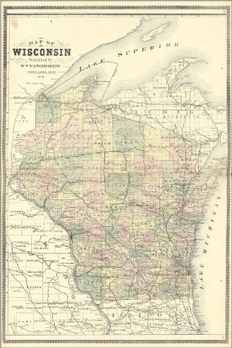 Poster Map Of Wisconsin 1889 Antique Reprint