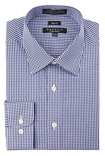 Marquis Men's Checkered Slim Fit Dress Shirt Extra-Large (Blue Marquis)