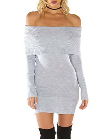 64db3975192 Simplee Apparel Damen Winter Langarm Elegant Slash Neck Strick Sweater Kleid  Schwarz Weiß