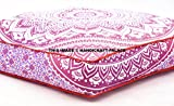 Pink Ombre Mandala Large Square Floor Pillow Cover Cotton, Oversized Daybed Outddor Ottoman Pouf Cover by Handicraft-Palace