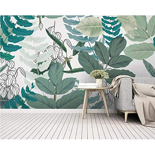 Handle Green Rainforest - Shuangklei Custom 3D Wallpaper Mural Rainforest Plant Flower Green Leaves Watercolor Floral Style Background Wall 3D Wallpaper-350X250Cm