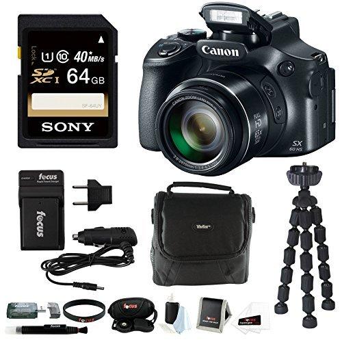 Canon PowerShot 65x Optical Zoom Digital Camera w/ 64GB SD Card Bundle (SX60 64GB Bundle)