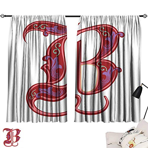 Ediyuneth Yellow Curtains Letter B,Colorful Mellow Design Capitalized Symbol B Second Letter Alphabet Abstract Gothic,Multicolor 54