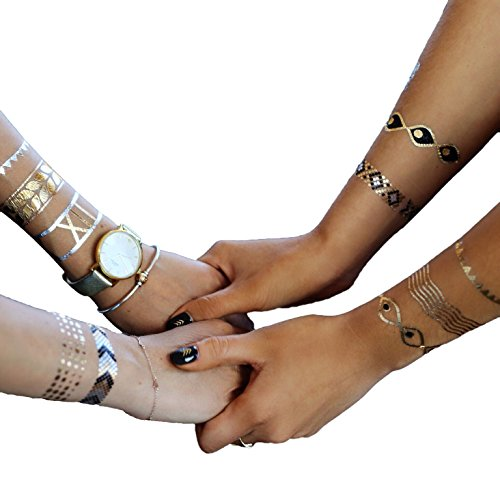 TribeTats Metallic Temporary Tattoos | Bracelets + Armbands Set | Henna Inspired Jewelry Tattoos | Apply In A Flash With Water | Boho Music Festival Accessories | Gold, Silver and Black