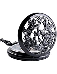 Antique Phoenix and Dragon Skeleton Pocket Watch Mens Mechanical Black Half Hunter Hand Wind
